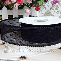 Гипюровая лента 4 см, черный