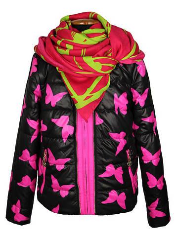 Шикарная яркая короткая куртка  для девочки 130-170 рост  Anernuo малиновая с черным, фото 2