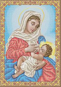 """Схема для вышивки бисером на габардине икона """"Богородица Млекопитательница"""""""