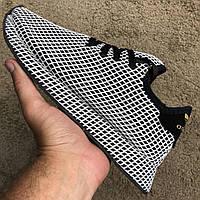 Мужские кроссовки Adidas Deerupt Runner Black/White Адидас черные с белым, фото 1
