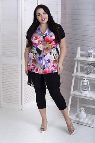 Женский костюм с капри для полных женщин Комфорт 3Д цветы, фото 2