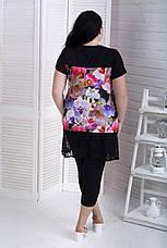 Женский костюм с капри для полных женщин Комфорт 3Д цветы, фото 3