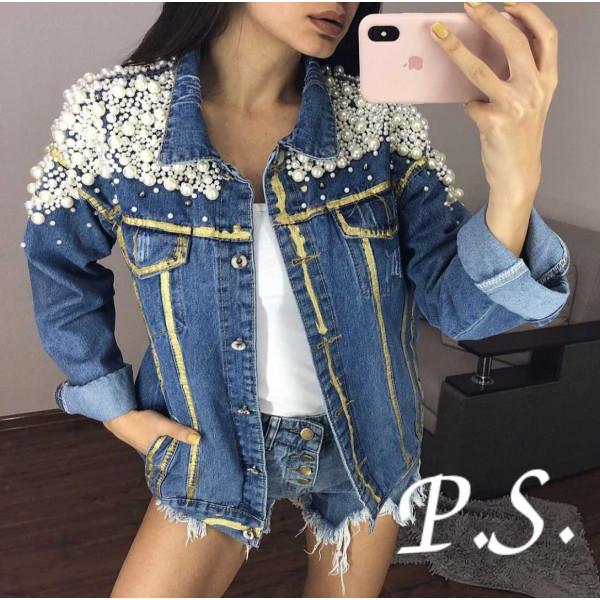 Куртка джинсовая с жемчужинами
