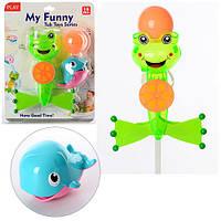 Игра для купания, лягушка-на присоске, кит-емкость для воды, шарик, на листе MMT-5509