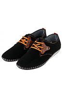 Мужские туфли прошивка эко-замша. (Черно-коричневый). Арт-42P002.5