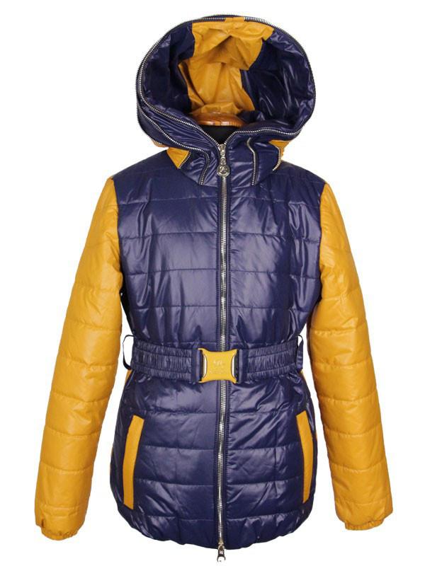 Стильная модная куртка для девочки 130-140 рост Anernuo синяя с горчичным