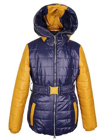 Стильная модная куртка для девочки 130-140 рост Anernuo синяя с горчичным, фото 2