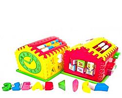 Домик логика. Логический домик сортер, счеты, часы. Логическая игрушка.