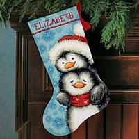 """Набор для вышивания гобеленом 71-09144 """"Обнимающиеся пингвины. Чулок"""" DIMENSIONS"""