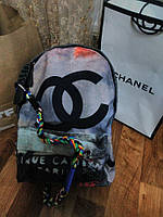 Рюкзак Шанель Chaneel копия Шанель  , Chaneel граффити Серый , фото 1