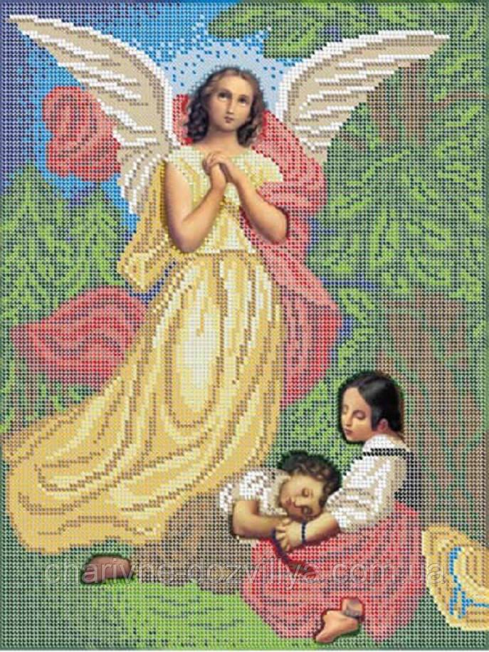 """Схема для вышивки бисером на габардине икона """"Ангел хранитель"""""""