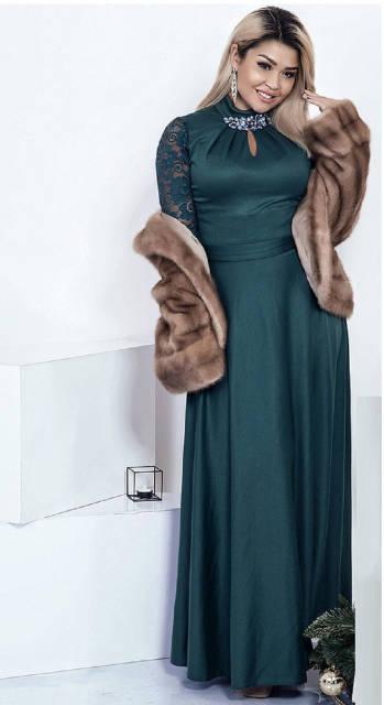 Нарядное длинное платье с рукавом для женщин 28848  42–52р. в расцветках бутылка, фото 1