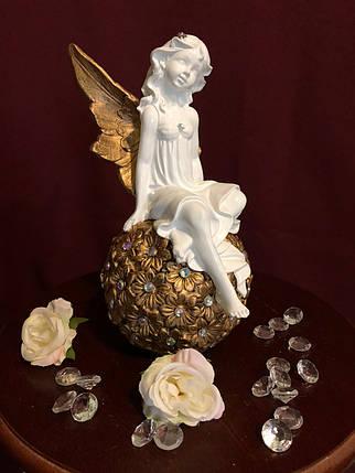 """Статуэтка """"Девочка эльф на цветочном шаре"""" золото, фото 2"""