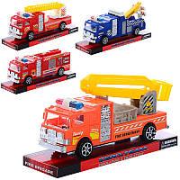 Машинка инер-я, 7см, 4 вида (пожарная, эвакуатор), в слюде 963-23-24