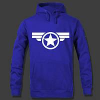 """Молодежная толстовка """"Captain America"""" с капюшоном Синяя, Размер S"""