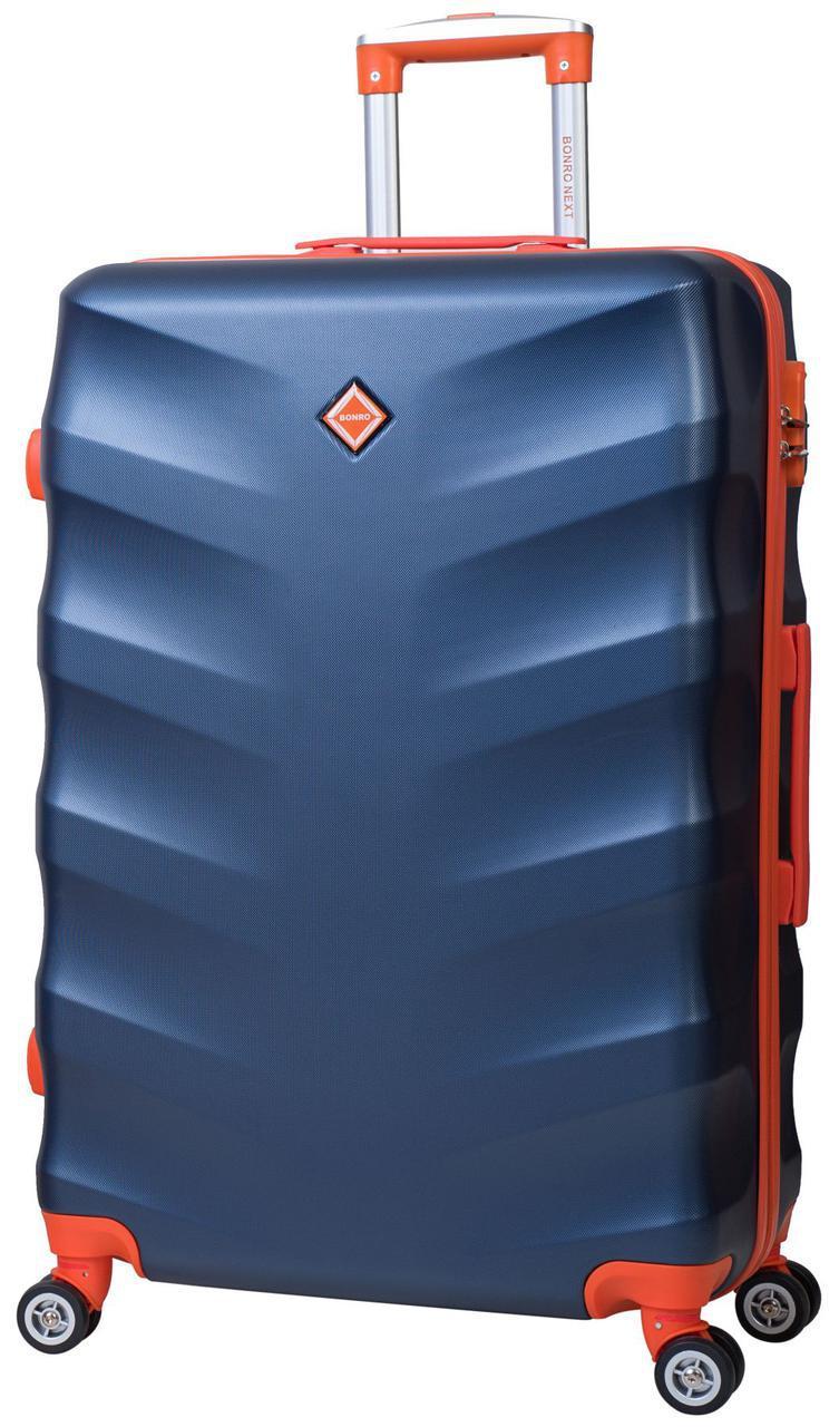 Дорожный чемодан на колесах Bonro Next Темно-синий Средний
