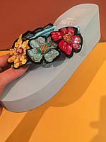 Голубые шлепанцы с разноцветными цветами на платформе , копия, фото 1
