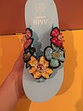 Голубые шлепанцы с разноцветными цветами на платформе , копия, фото 2