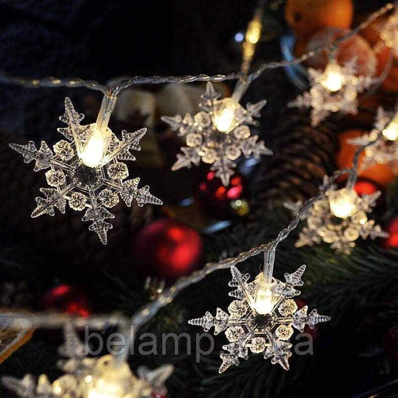 """Новогодняя гирлянда """"Нежные снежинки"""" от батареек"""