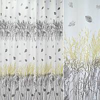 Лен льняная ткань Шторы портьерная ткань молочный с зелено серыми деревьями (купон) ш