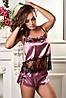 Атласная пижама топ и шорты с кружевом шантильи Фрез