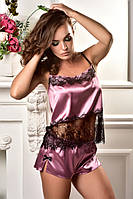 Атласная пижама топ и шорты с кружевом шантильи Фрез, фото 1