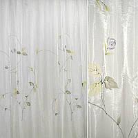909946347 - органза наб.белая с фиолет.и голуб.розами