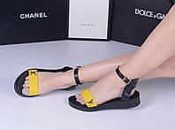 Босоножки LV черные с желтым. Натуральная кожа. Аналог, фото 1