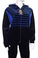 Велюровый спортивный костюм полоска капюшон K101-A-A Фиолетовый, 2XL