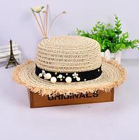 Шляпа канотье соломенная (светлый беж)