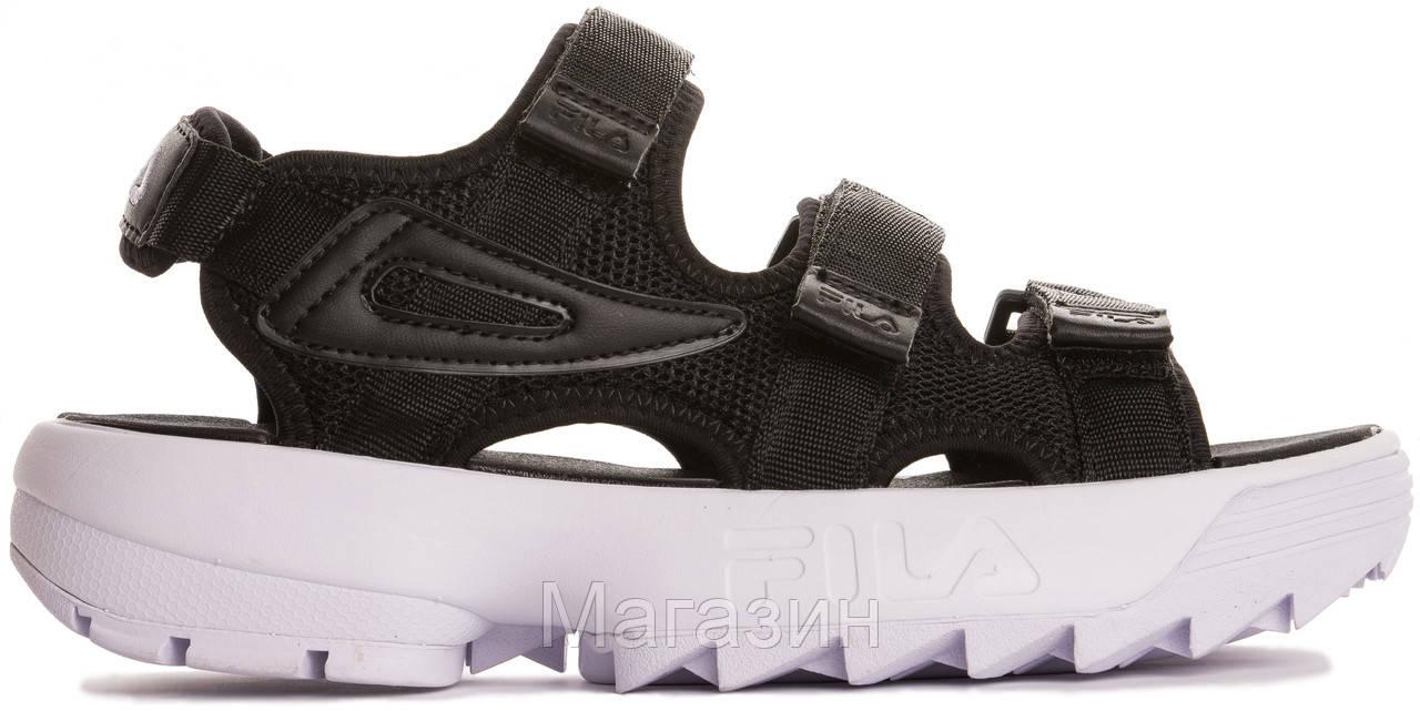 """Мужские сандалии Fila Disruptor Sandals """"Black"""" (Фила Дисраптор) в стиле черные"""