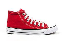 Женские кеды Converse All Star красные высокие (Реплика ААА+)