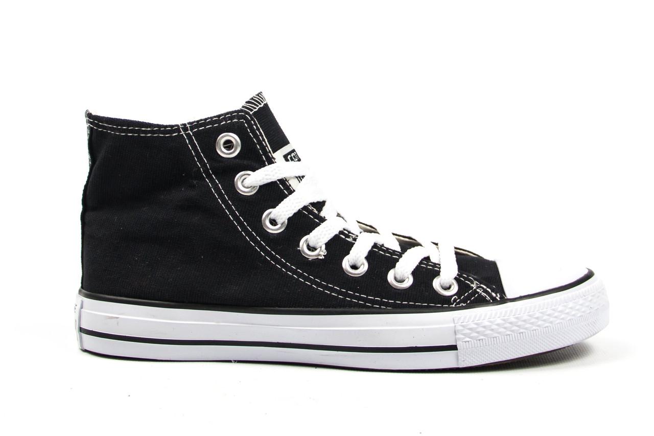 Женские кеды Converse All Star черные с белым высокие (Реплика ААА+)