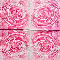 """Салфетка декупажная 25x25 см 2 """"Розовенькая роза"""""""