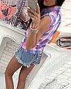 Рубашка безрукавка летняя женская в клетку (розово-голубая), фото 3