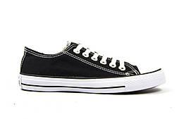 Женские кеды Converse All Star черные с белым низкие (Реплика ААА+)