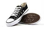 Женские кеды Converse All Star черные с белым низкие (Реплика ААА+), фото 5