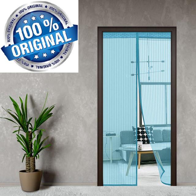Дверная антимоскитная сетка на сплошном магните 210 x 100 см NOT FLY (синяя)
