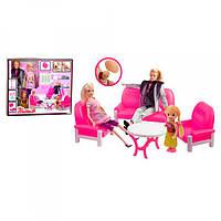 Семья 30см и 29см(беременная), дочка10см, пупс, мебель (гостиная), в кор-ке, 38-33-7см
