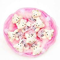 Букет из мягких игрушек Мишки 9 бледно розовый