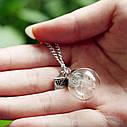 Кулончик Стеклянный шар с одуванчиком на цепочки, фото 3