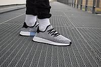 Мужские кроссовки Adidas Deerupt Runner White Black (Реплика)