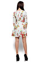 Короткое платье с ярким принтом и рукав 3/4 голубое, фото 3