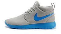 Кроссовки Nike Roshe Run высокие серо-синие, фото 1