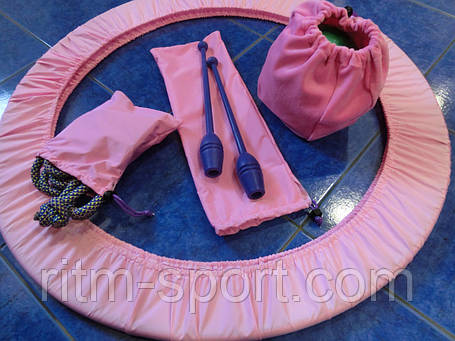 Набор чехлов на обруч, булавы, скакалку, мяч розовый/темно-синий, фото 2