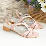 Женские кожаные босоножки на невысоком каблуке, цвет пудра, фото 4