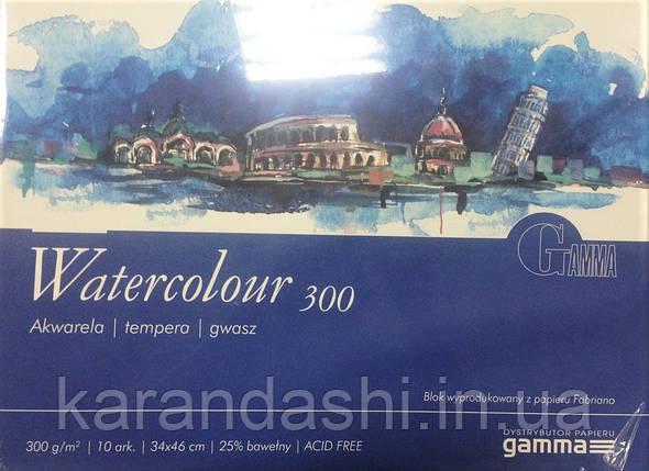 Склейка для акварели 12,5*18см 300г 10л 25% хлопка W3001218K10 GAMMA Watercolour Fabriano, фото 2
