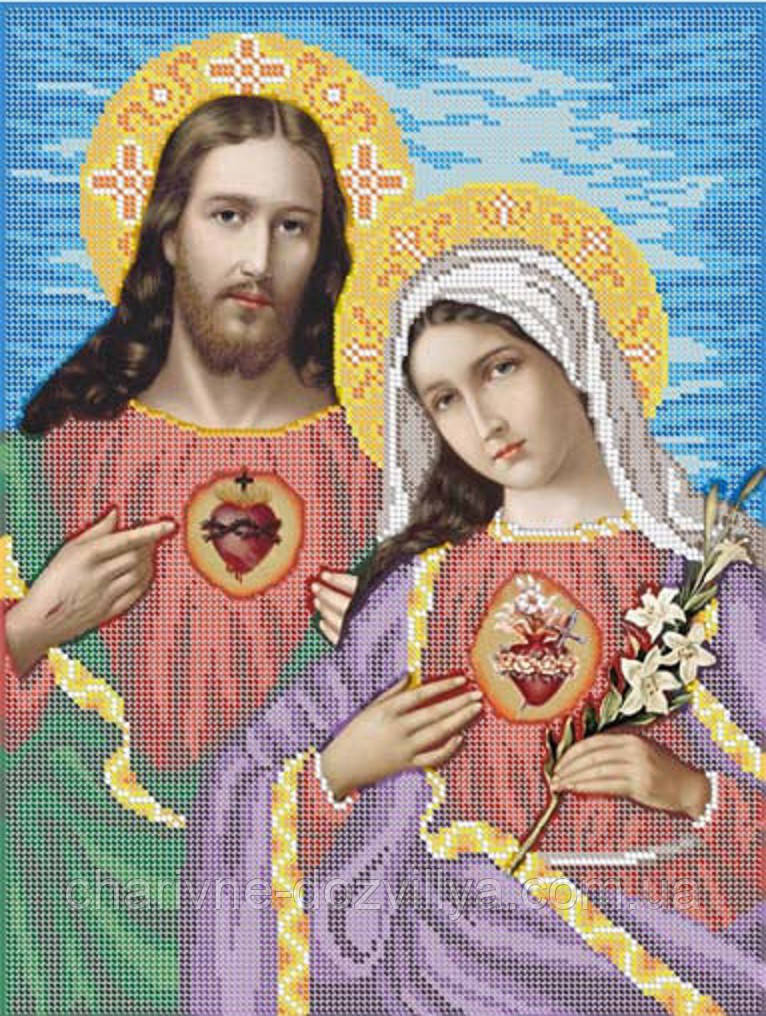 """Схема для вышивки бисером на габардине икона """"Священные сердца Иисуса и Марии"""""""