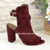 Женские бордовые босоножки на высоком устойчивом каблуке, фото 1