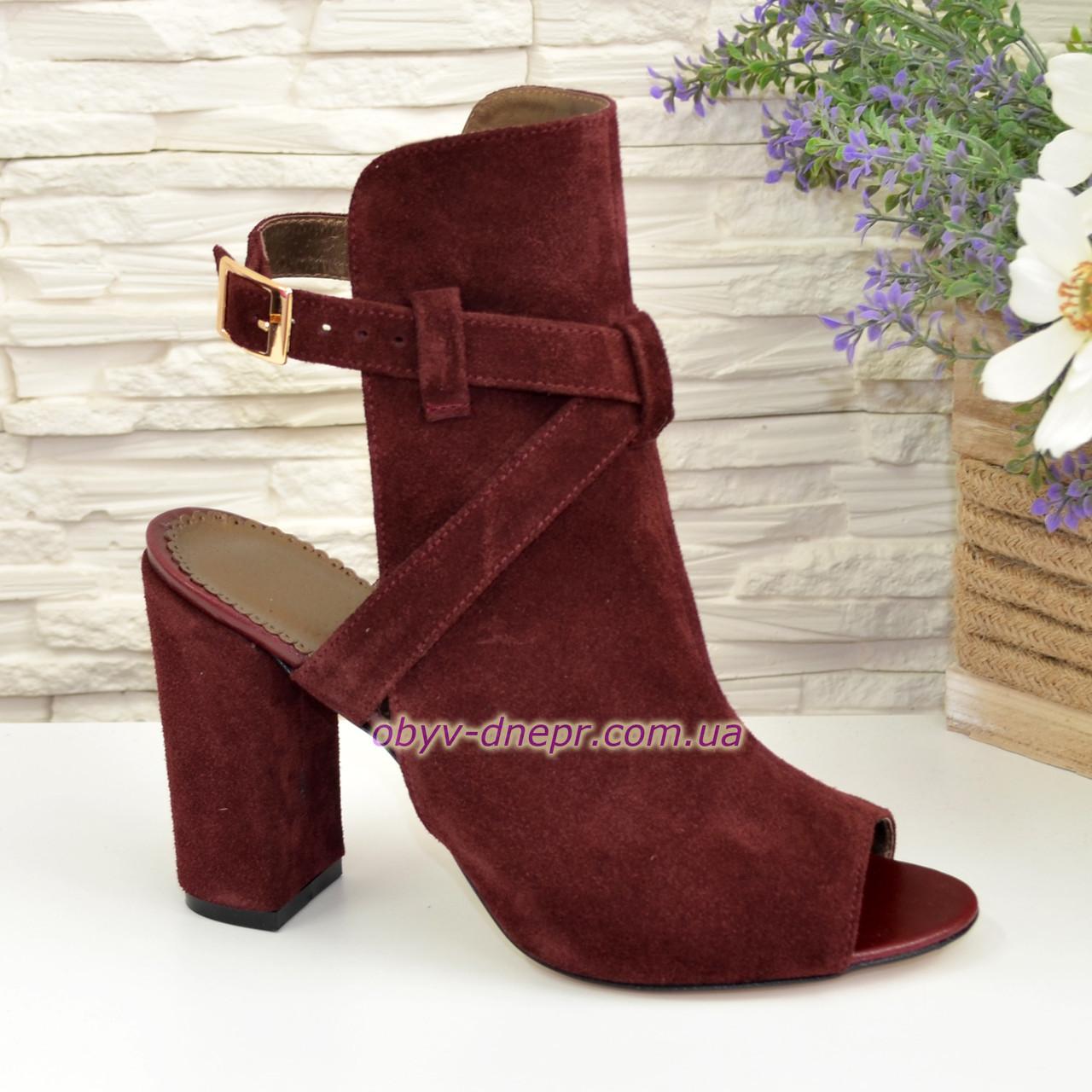 Женские бордовые босоножки на высоком устойчивом каблуке